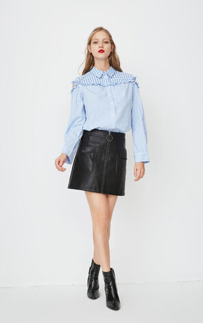 ONLY Summer New Women's Spliced Ruffled Shirt|118105511