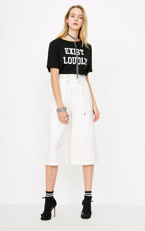 ONLY2019 women's summer new style strap high waist plaid cropped wide leg pants | 11816J529