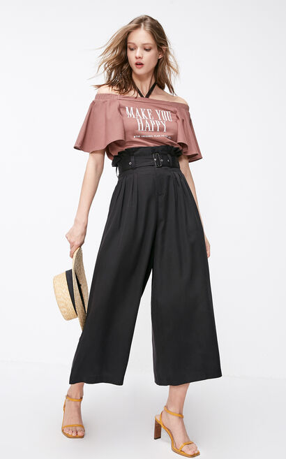 ONLY Summer New Women's Loose Fit High-rise Wide-leg Crop Pants, Black, large