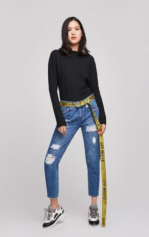 ONLY Women's 2019 Spring Straight Fit Ripped Crop Jeans |117149523