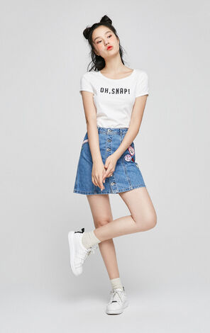 ONLY Spring Badge A-lined Denim Skirt 117137514