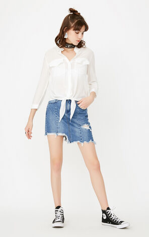 ONLY Summer Lace Spliced Pocket Loose Fit Shirt |117331511