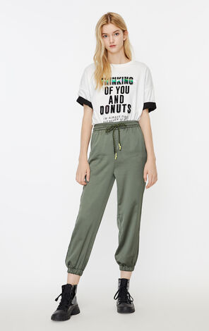ONLY 2019 AutumnWomen's Loose Fit High-rise Cinched Cuffs Crop Pants|119350509