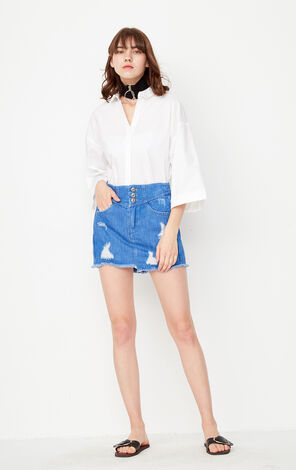 ONLY Spring New Women's Loose Fit Drop-shoulder 3/4 Sleeves Shirt|117131501