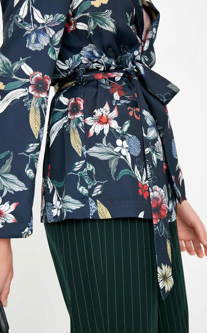 ONLY2019 women's spring new print loose tie suit jacket | 118108541, Blue, large
