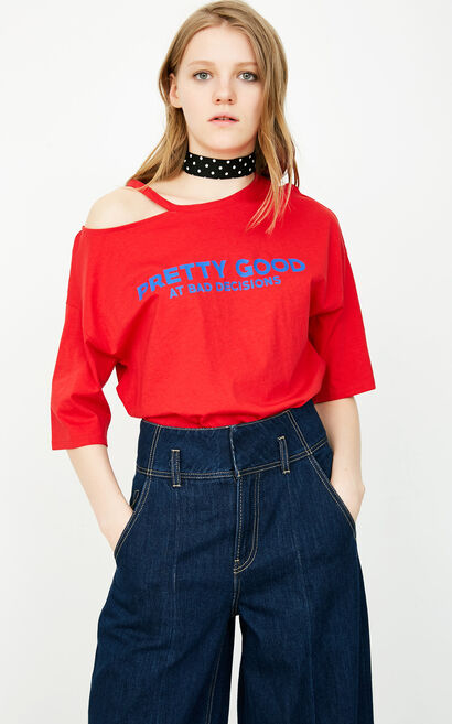 ONLY 2019 Women's Summer Cut-outs Letter Print Loose Fit T-shirt |118101530, Red, large