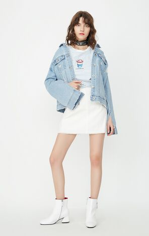 ONLY Women's Summer Frayed Raw-edge Long-sleeved Denim Jacket |117354502