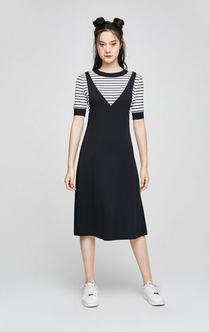 ONLY 2019 Spring Loose Fit Fake Two-piece Striped Dress  117261504