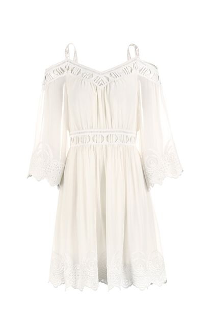 ONLY Women's Autumn Cut-out Crochet Shoulder Straps Dress |117307502, White, large