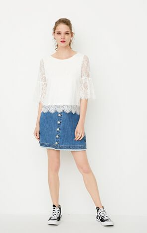 ONLY Spring New Women's Loose Fit Lace Ruffled Sleeves Spliced T-shirt|117230510