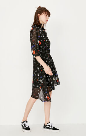 ONLY Summer Printed Two-piece Loose Chiffon Dress |117307530