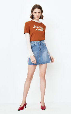 ONLY 2018 Summer Striped A-line Denim Skirt |118137530