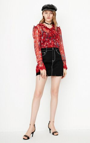 ONLY2019 women's summer new lace ruffled floral chiffon shirt | 118105533