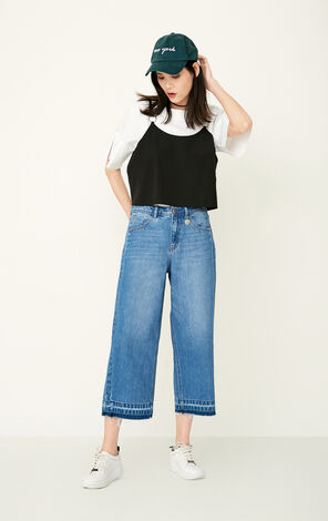 ONLY Summer New Women's Cotton Raw-edge Wide-leg Crop Jeans|117249508