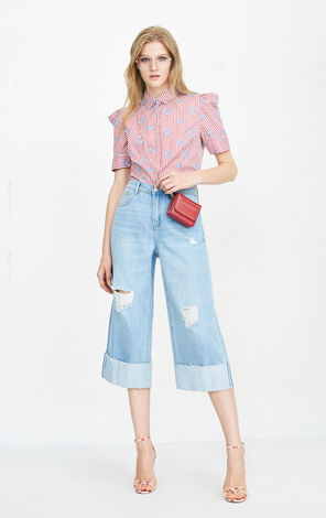 ONLY summer new curling low waist smiley wide leg jeans female   11826I517