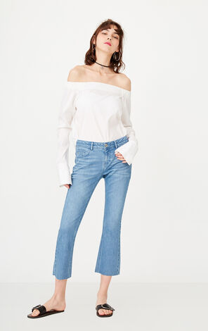 ONLY Women's Summer Raw-edge Buttoned BF Style Crop Jeans |117249545