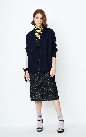 ONLY Women's 2019 Spring Double-breasted Pure Color Loose Fit Suit |118108525