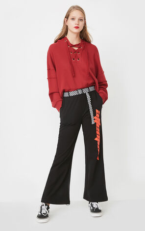 ONLY Women's Summer Loose Fit Black Wide-leg Casual Pants |11811D502