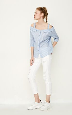 ONLY Women's Summer Boat Neck Off-the-shoulder Elbow Sleeves Shirt |117231509