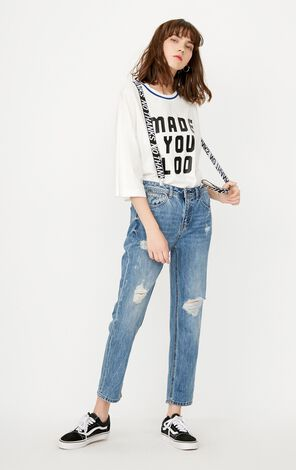 ONLY Women's Spring Ripped Boyfriend Style Crop Jeans |117249515