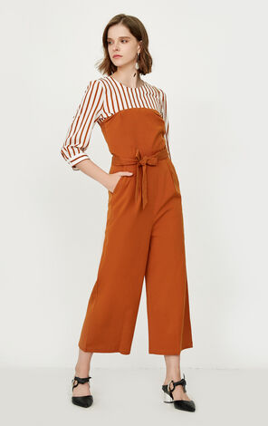 ONLY Women's Summer Lace-up Striped Two-piece Jumpsuit|118144509