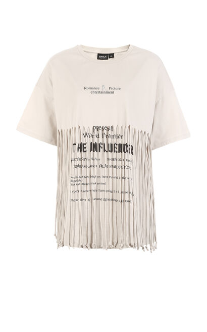 ONLY New Women's Loose Fit Fringed Letter Print 100% Cotton Drop-shoulder Elbow Sleeves T-shirt, Grey, large