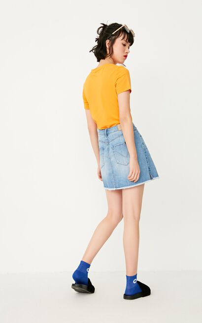 ONLY Women's Spring New High-rise Ripped A-line Denim Skirt|117237502, Blue, large