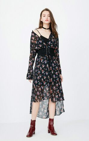 ONLY 2018 Summer Two-piece Floral Chiffon Dress |118107551