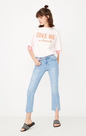 REPEAT SMASH LW CROPPED MINI FLARE JEANS