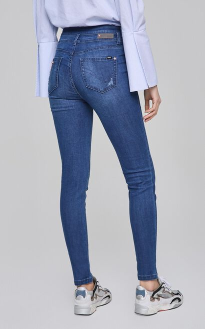 ONLY Women's Spring High-rise Ripped Slim Fit Tight-leg Jeans |117232508, Blue, large