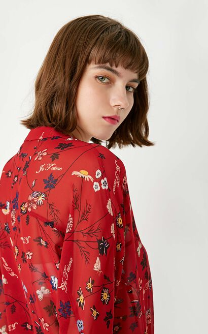 ONLY Summer New Women's Loose Fit 3/4 Sleeves Floral Chiffon Shirt|117331541, Red, large