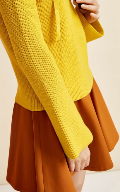 ONLY early autumn new products bandage V-neck horn sleeve loose sweater women | 117313542, Yellow, large
