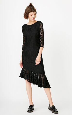ONLY Autumn new style lace ruffled slim dress female | 117361526