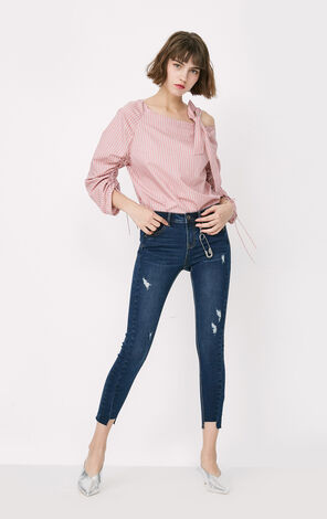 ONLY Women's Summer Frayed Raw-edge Slim Fit Crop Jeans  117349554