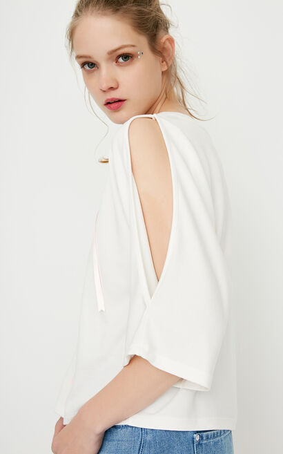 ONLY spring New Women's Loose Fit Off-the-shoulder 3/4 Sleeves T-shirt|117230514, White, large
