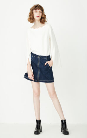 ONLY New Women's Split Ruffled Sleeves Round Neckline Pure Color T-shirt|117302525