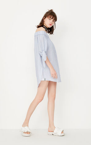 ONLY Summer New Loose Fit Boat Neck 3/4 Sleeves Shirt|117331516