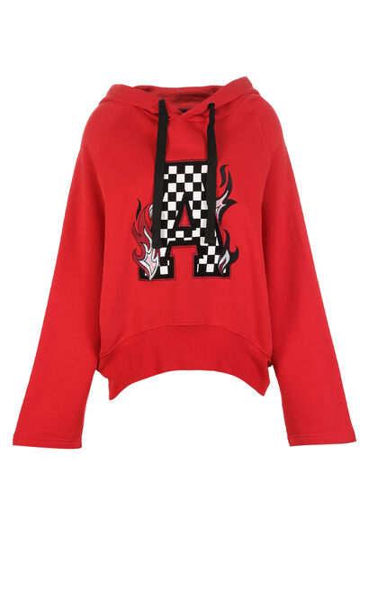 ONLY Women's Winter 2019 Loose Fit Letter Print Hoodie |11819S516, Chili Red, large