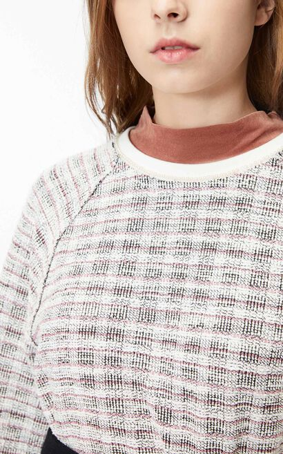 ONLY2019winterNew Women's Loose Fit Woven Checked Round Neckline Sweatshirt|11949S522, White, large