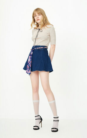 PRINT A LINE  DENIM SKIRT