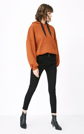 ONLY Women's 2019 Winter High-rise Lace-up Crop Jeans |118149624