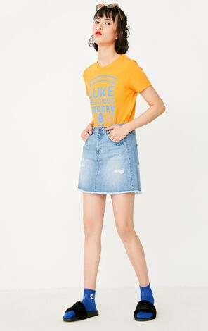 ONLY Women's Spring New High-rise Ripped A-line Denim Skirt|117237502