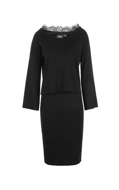 ONLY Autumn new knitted bag hip dress suit female   118146518, Black, large