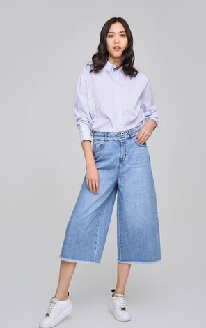 ONLY2019 Spring New Women's Raw-edge Wide-leg Crop Jeans|117149538