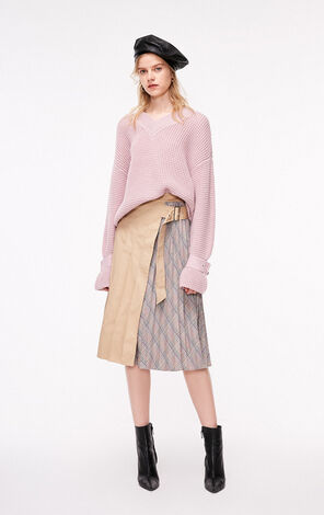 Only 2019 High-rise Checked Spliced Pleated Skirt |119116518