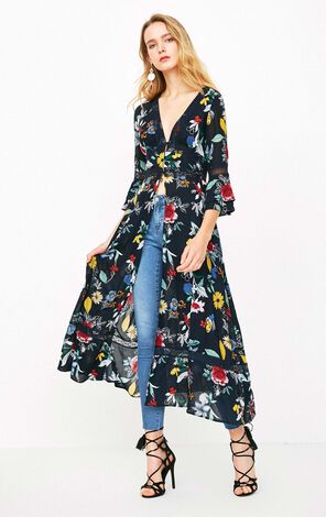 ONLY Printed Laced Flare Sleeves Dress|118107629