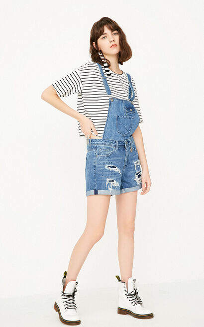 ONLY Women's Spring Frayed Roll-up Denim Overalls |117243507, Blue, large