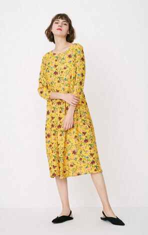 ONLY Women's Autumn New Mid-length Loose Fit Floral Dress|117307618