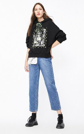 ONLY2019winterNew Women's Loose Fit Printed Paillette Contrasting Drawstring Hoodie|11949S509