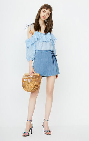 ONLY Summer Slim Fit Lace-up High-rise Denim Pantskirt |118243527